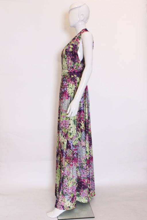 Gray 1970s Berketex Floral Gown with Bolero For Sale
