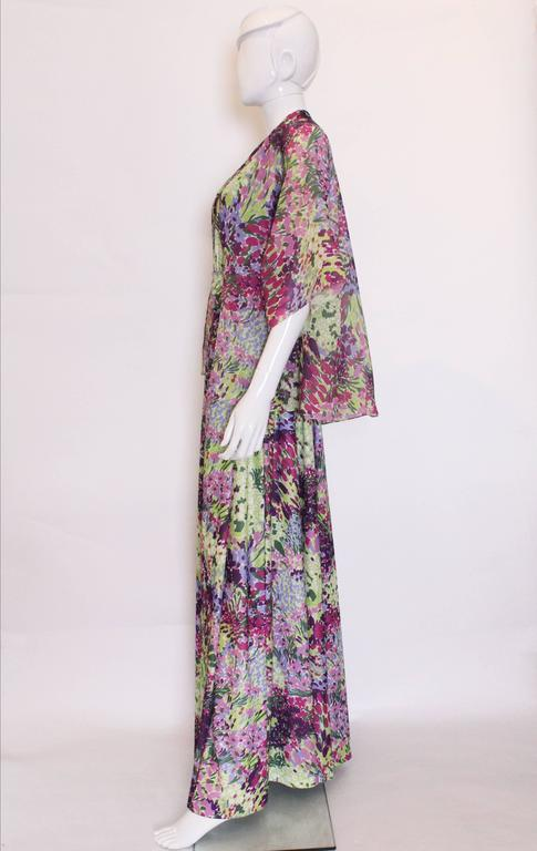Women's 1970s Berketex Floral Gown with Bolero For Sale
