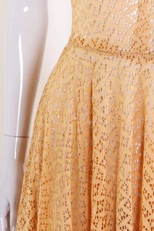 1950s Apricot Broderie Anglaise Dress 5