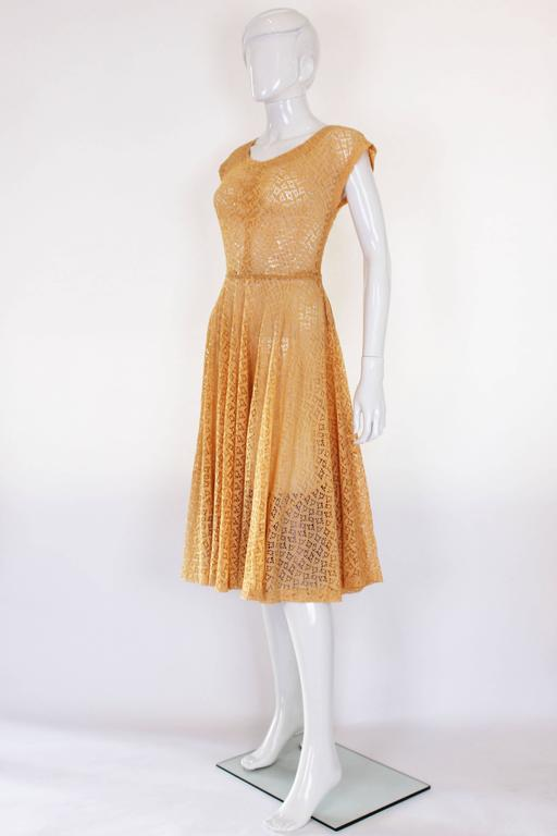 1950s Apricot Broderie Anglaise Dress 2