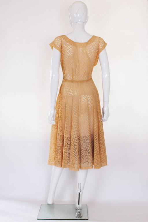 1950s Apricot Broderie Anglaise Dress 4