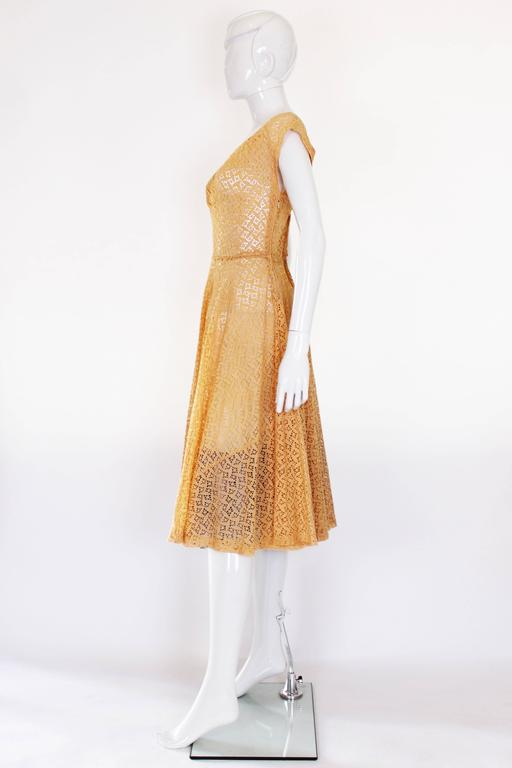 1950s Apricot Broderie Anglaise Dress 3