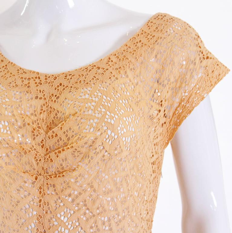1950s Apricot Broderie Anglaise Dress 7