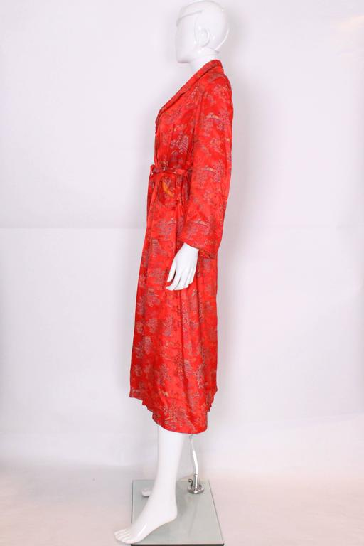 Women's 1950s Chinese Style Red Silk Dressing Gown For Sale
