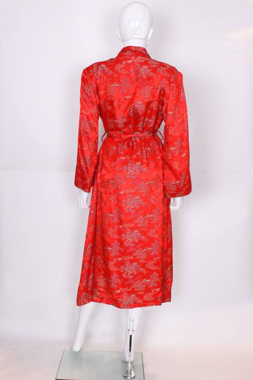 1950s Chinese Style Red Silk Dressing Gown For Sale 1