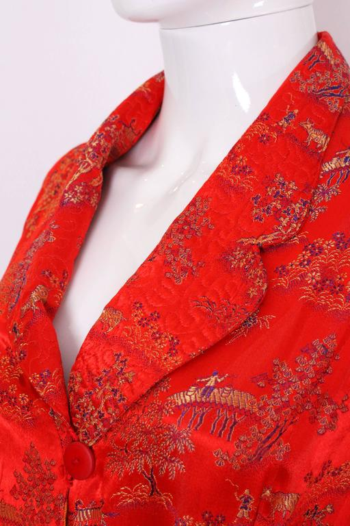 1950s Chinese Style Red Silk Dressing Gown For Sale 2