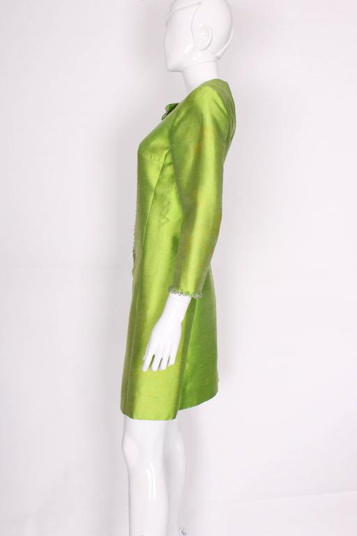1960s Bright Green Embellished Silk Cocktail Dress 4