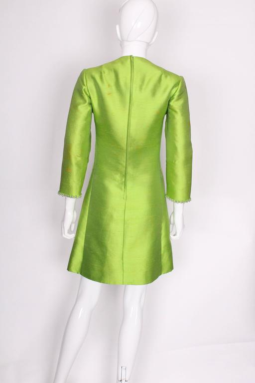 1960s Bright Green Embellished Silk Cocktail Dress 5