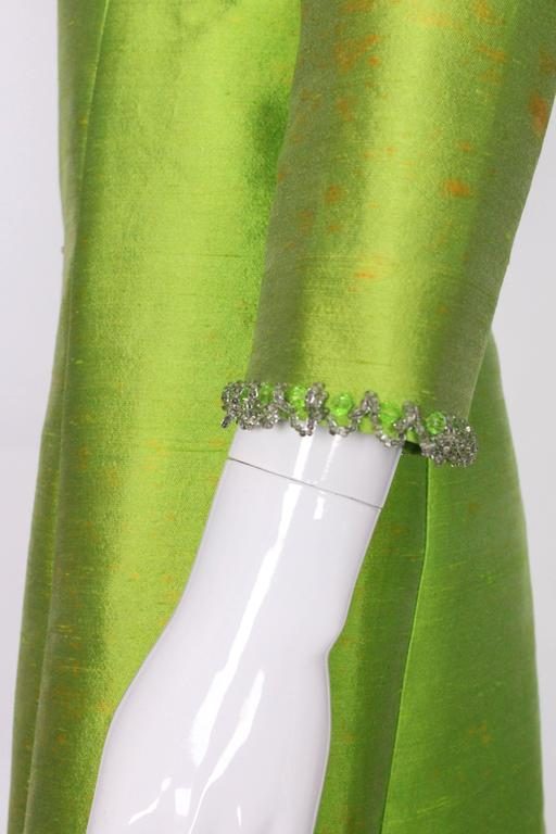 1960s Bright Green Embellished Silk Cocktail Dress 7