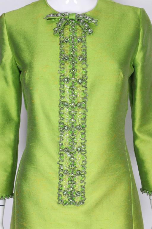 1960s Bright Green Embellished Silk Cocktail Dress 6