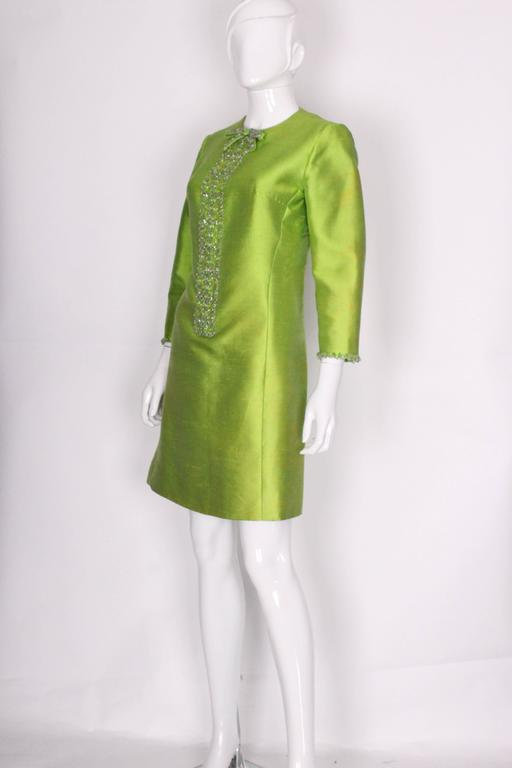 1960s Bright Green Embellished Silk Cocktail Dress 3
