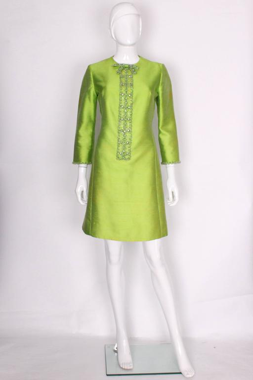 1960s Bright Green Embellished Silk Cocktail Dress 2