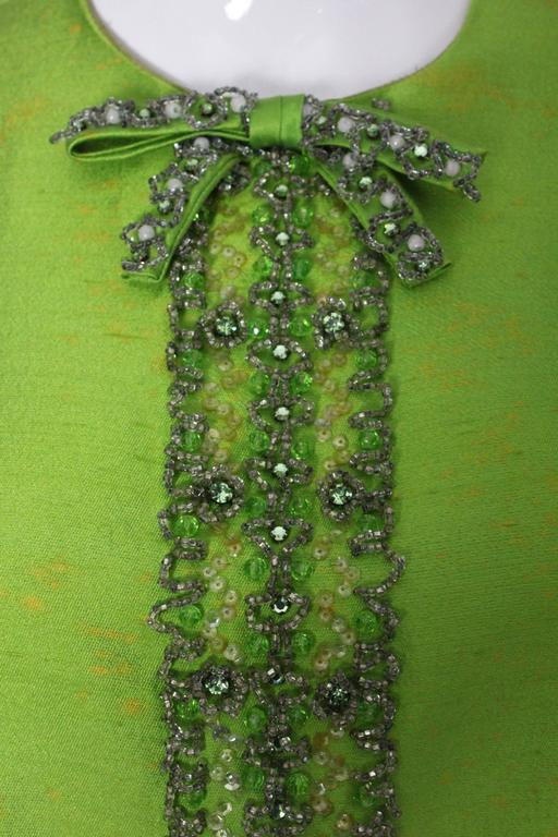 1960s Bright Green Embellished Silk Cocktail Dress 8