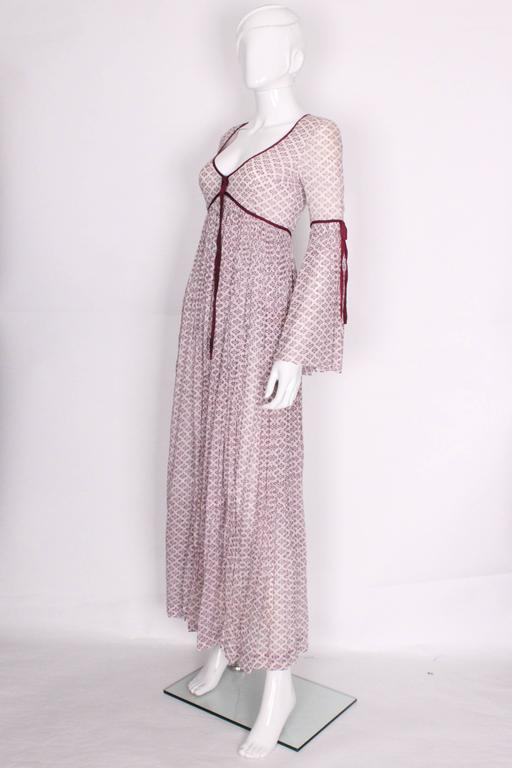 1970s Purple & White Indian Cotton Printed Maxi Dress 3