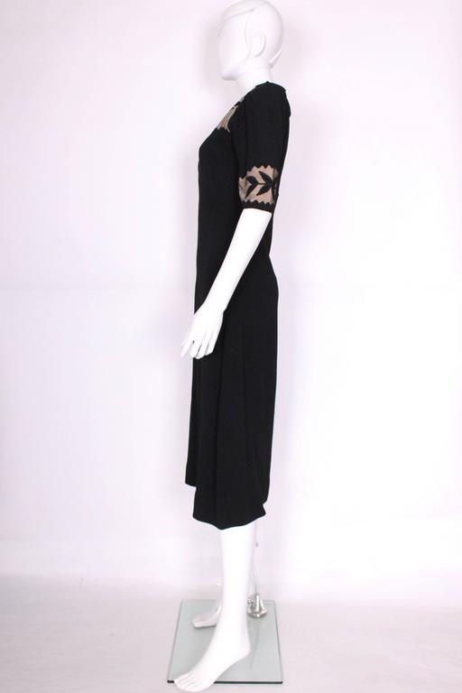 Women's 1940s Black Crepe Leaf Detail Applique Dress For Sale