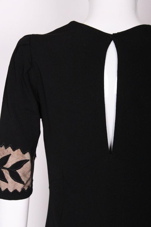 1940s Black Crepe Leaf Detail Applique Dress For Sale 5