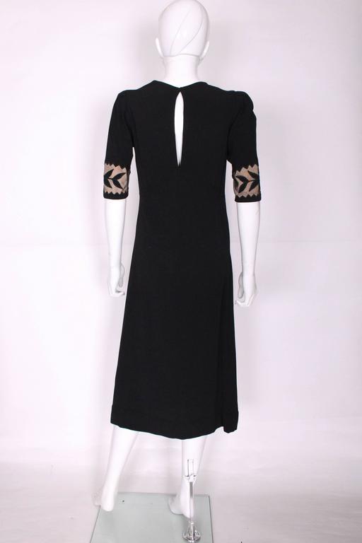 1940s Black Crepe Leaf Detail Applique Dress For Sale 1