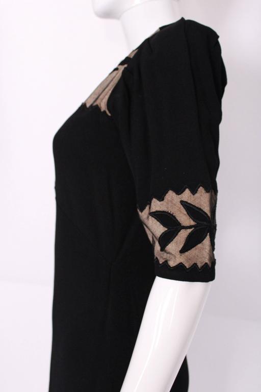 1940s Black Crepe Leaf Detail Applique Dress For Sale 4