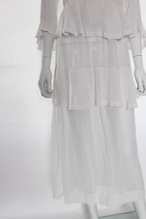 White Layered Cotton Edwardian Day Dress For Sale 1