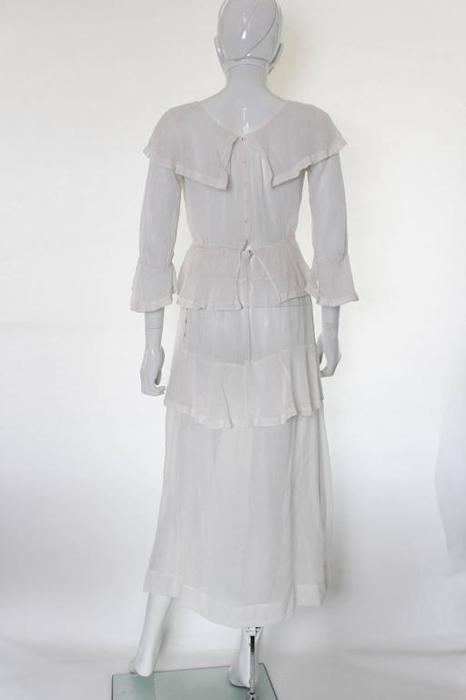 White Layered Cotton Edwardian Day Dress In Excellent Condition For Sale In London, GB