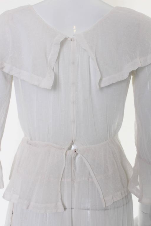 White Layered Cotton Edwardian Day Dress For Sale 2
