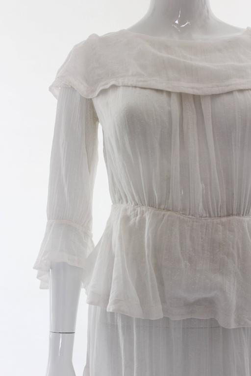 Women's White Layered Cotton Edwardian Day Dress For Sale