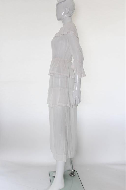 Gray White Layered Cotton Edwardian Day Dress For Sale