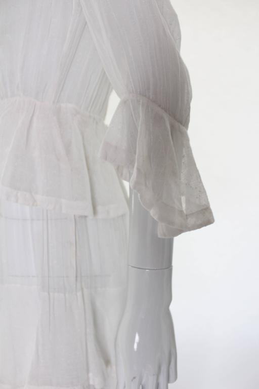 White Layered Cotton Edwardian Day Dress For Sale 3