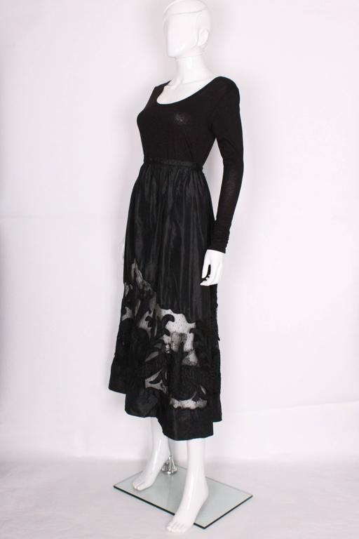 Edwardian Silk & Net Embroidered Black Skirt In Good Condition For Sale In London, GB