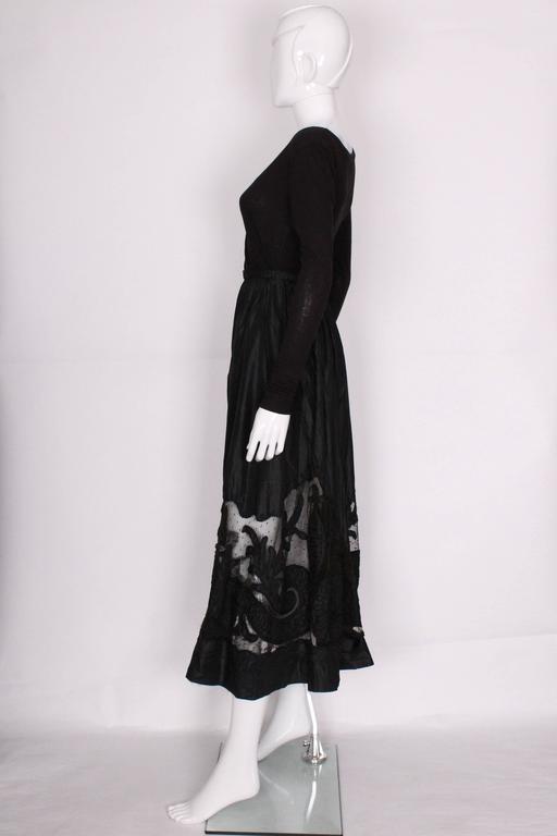 Women's Edwardian Silk & Net Embroidered Black Skirt For Sale