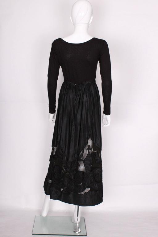 Edwardian Silk & Net Embroidered Black Skirt For Sale 1