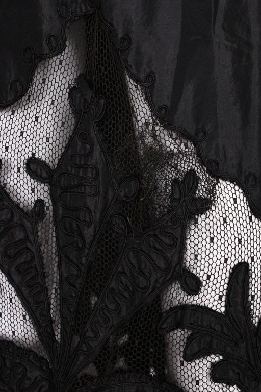 Edwardian Silk & Net Embroidered Black Skirt For Sale 5