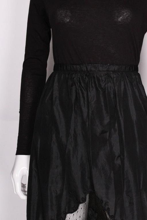 Edwardian Silk & Net Embroidered Black Skirt For Sale 2