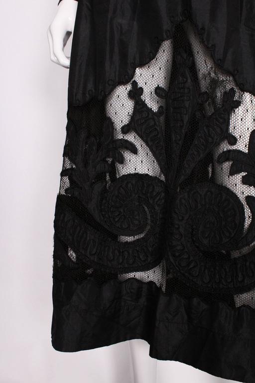 Edwardian Silk & Net Embroidered Black Skirt For Sale 4