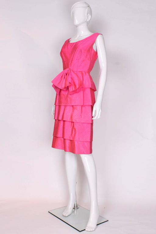 Vintage Bright Pink Raw Silk Cocktail Dress For Sale at 1stdibs