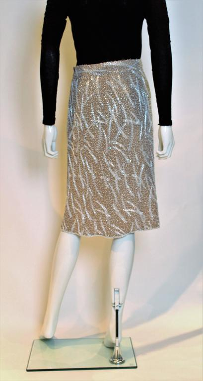 1980s silk,beaded and sequinskirt For Sale 2