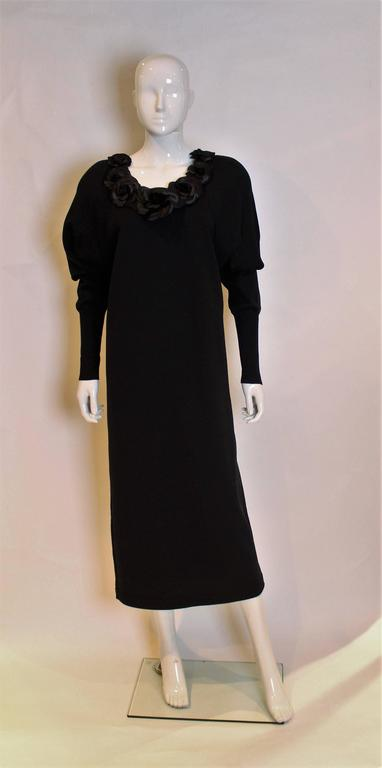 Chanel Boutique Black Sweater Dress with Silk Flowers 2