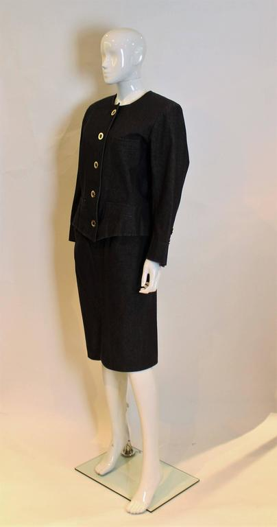 Yves Saint Laurent Rive Gauche Black Denim Skirt Suit In Excellent Condition For Sale In London, GB