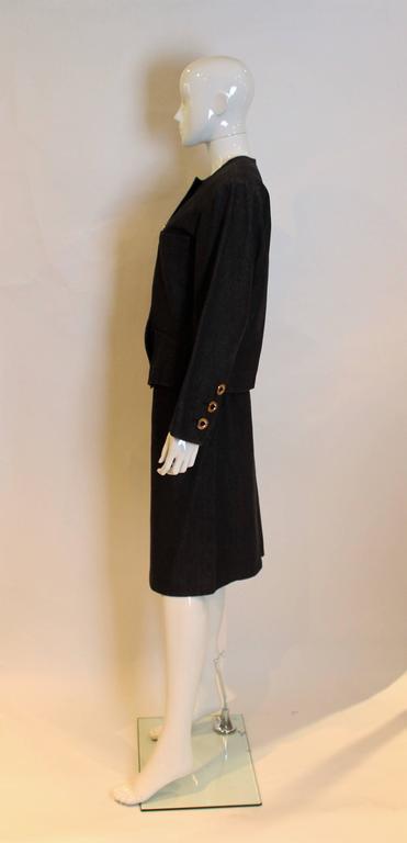 Women's Yves Saint Laurent Rive Gauche Black Denim Skirt Suit For Sale