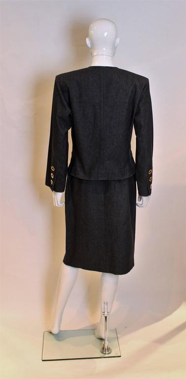 Yves Saint Laurent Rive Gauche Black Denim Skirt Suit For Sale 1