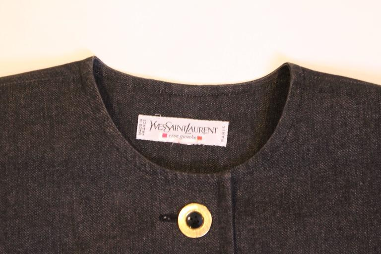 Yves Saint Laurent Rive Gauche Black Denim Skirt Suit For Sale 2