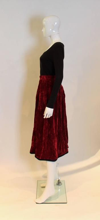 Yves Saint Laurent Rive Gauche Red Velvet Skirt In Excellent Condition For Sale In London, GB