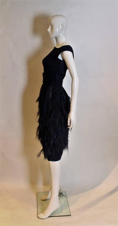 516b00d141c1 Black 1962 Silk Chiffon and Feather Cocktail Dress by Norman Hartnell For  Sale