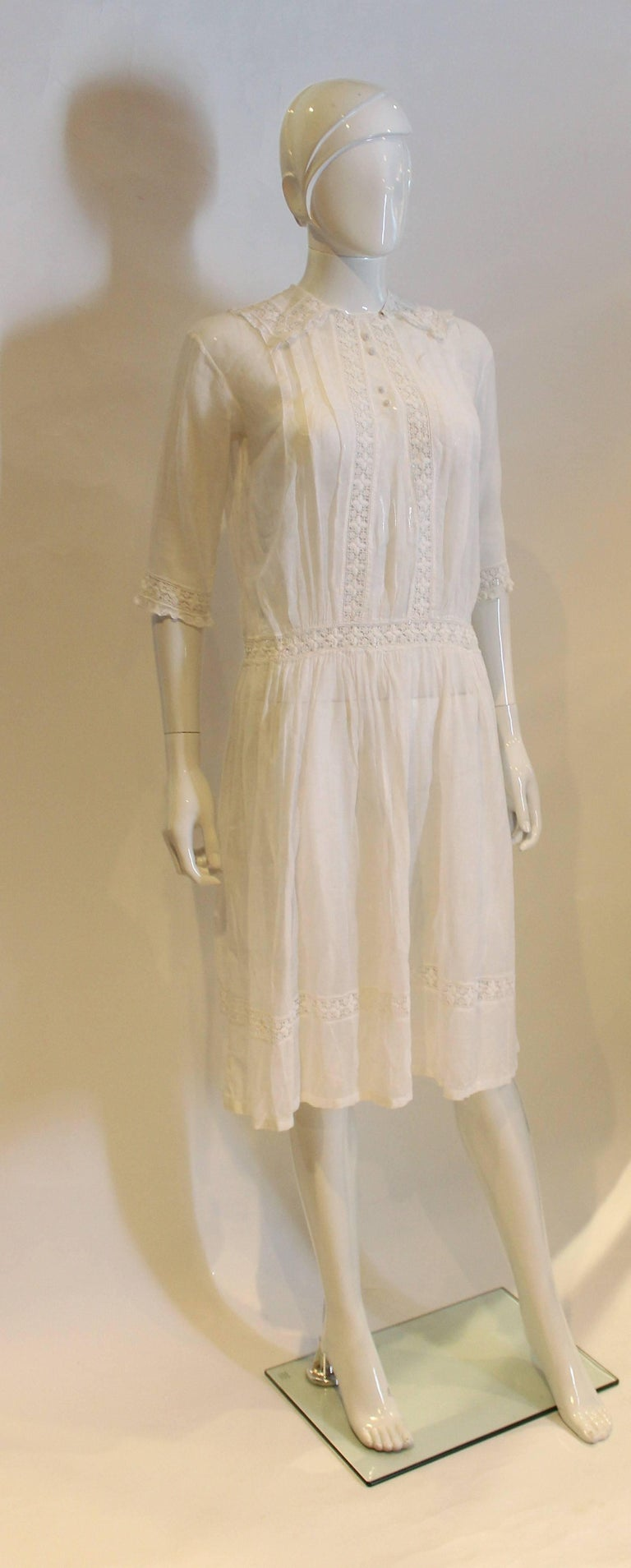 White Cotton Dress With Lace Trim For Sale At 1stdibs