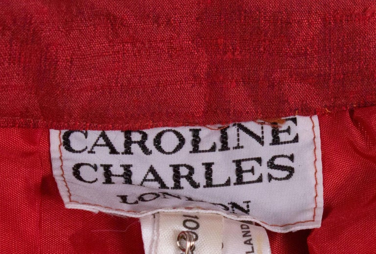Caroline Charles Vintage Silk Red Skirt For Sale 2