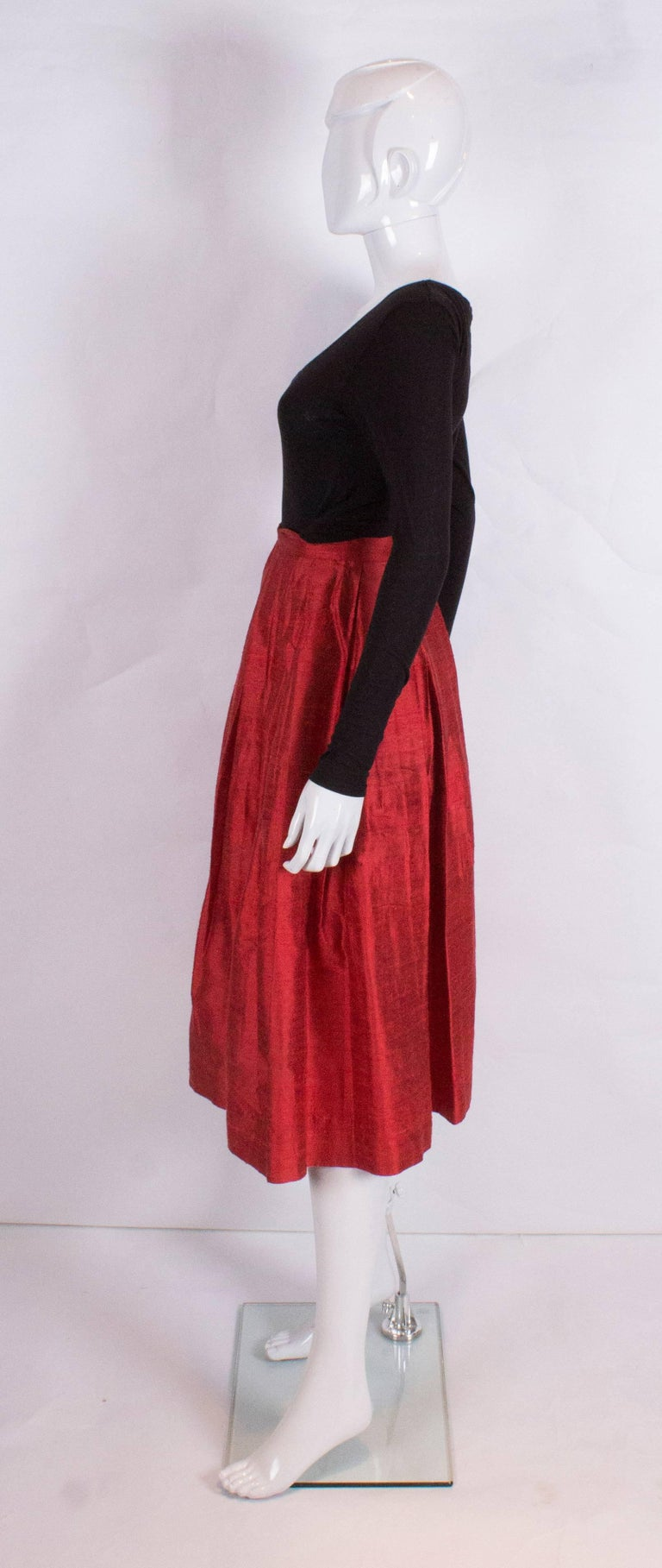 Women's Caroline Charles Vintage Silk Red Skirt For Sale