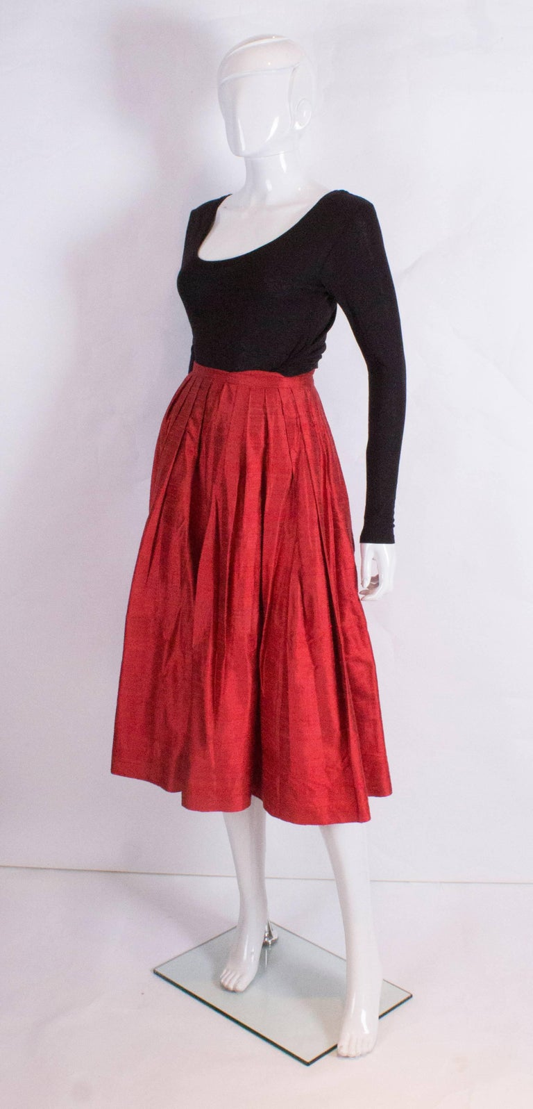 Caroline Charles Vintage Silk Red Skirt In Good Condition For Sale In London, GB