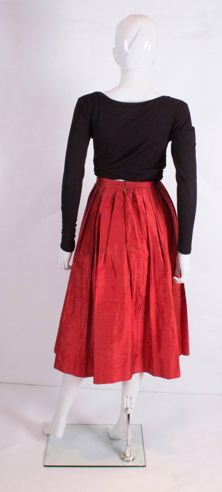 Caroline Charles Vintage Silk Red Skirt For Sale 1