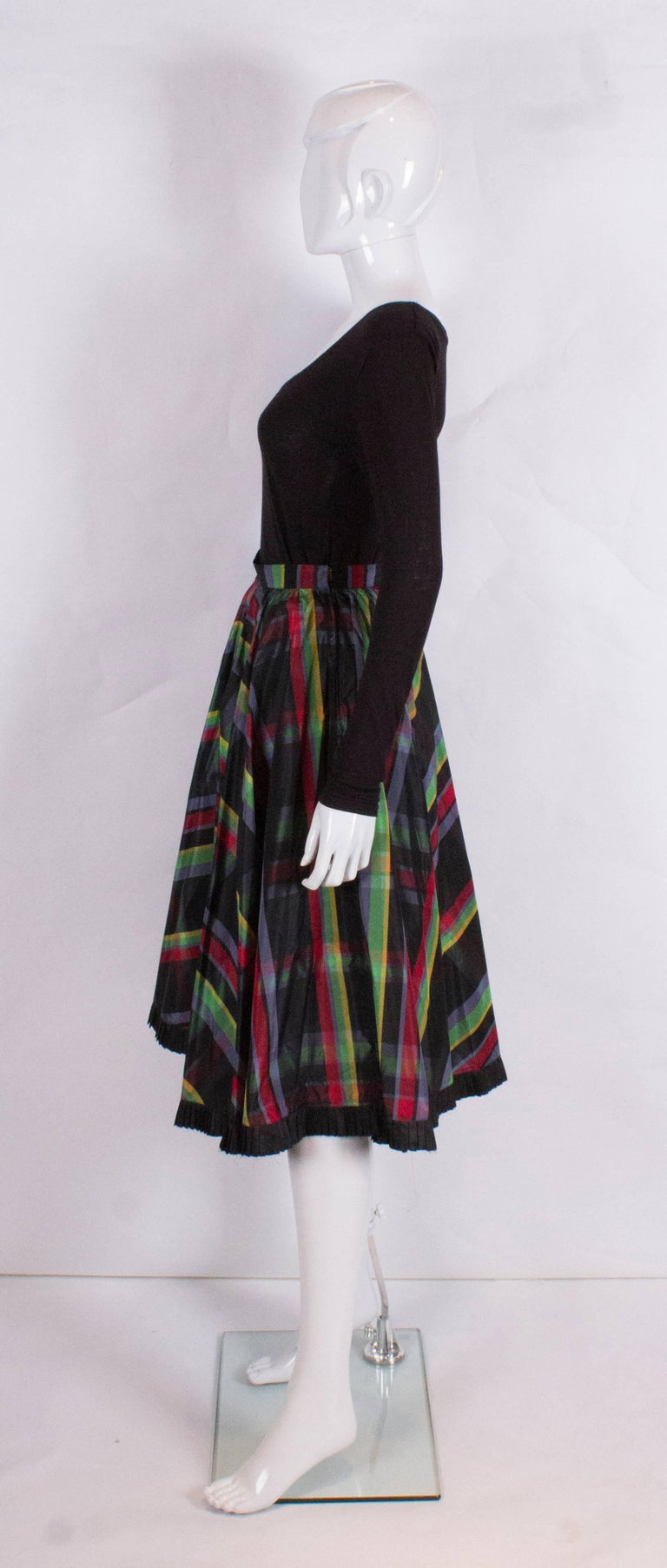 Italian Silk Skirt With Black Frilled Underskirt For Sale