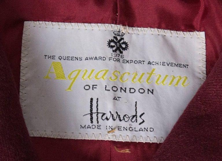 Burgundy Wool Coat by Aquascutum For Sale 1